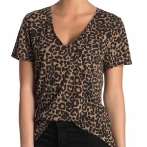 NEW Socialite Leopard Animal Print V Neck T Shirt